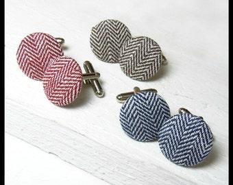 Herringbone Fabric Cufflinks