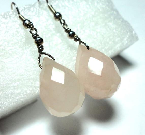 Rose Quartz Pink Earrings Pink Rose Quartz Faceted Teardrop Earrings with Sterling