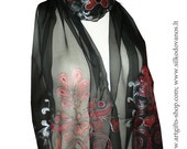 Hand paitned silk scarf black red Passion