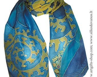 Blue yellow Hand painted Silk scarf