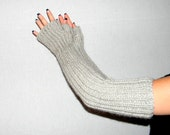Knit hand warmers Womens arm warmers Fingerless gloves Long mittens Alpaca blend Glacier gray. Elbow length. Christmas gift for her. Winter