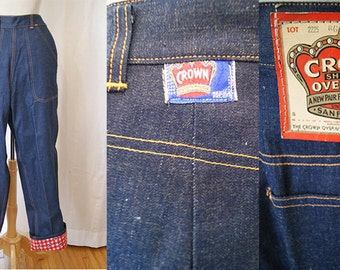 CLEARANCE Sassy 1950's Dead Stock Crown Blue Jeans w/Checkerd Cuff Vintage Rockabilly VLV Pinup SIze Small