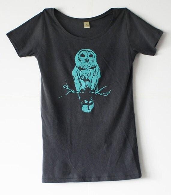 Owl TShirt - Grey - Bamboo - Organic Cotton- Turquoise Blue ink  Owls - Women - Small, Medium, Large, Extra Large - mystical