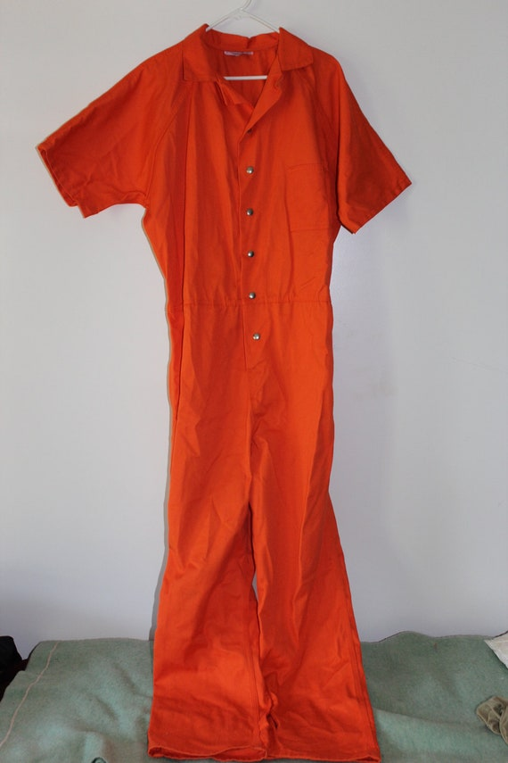 HALLOWEEN Costume Jail Inmate Orange Jumpsuit Coveralls Mens