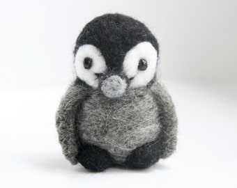 Pocket felted baby penguin, made to order