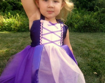 Rapunzel Costume: purple sparkle tulle and straps with pink center, Costume, Birthday, Princess Party, Princess Dinner, vacation, adjustable