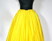 Vintage BILL BLASS Dress Yellow Taffetta Black Lace Strapless Gown - StatedStyle