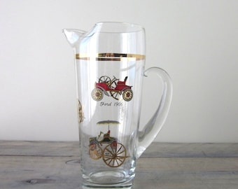 Vintage Glass Pitcher with Ford and Reo Cars with Gold Trim