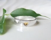 Heart of Gold Silver Hammered Band Ring