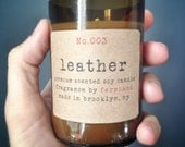 Leather Scented - Eco-friendly hand poured 6oz soy candle in a recycled beer bottle