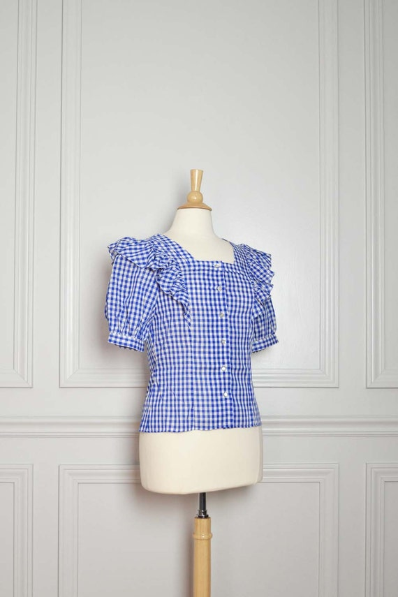 SALE Top Shirt Gingham Plaid / Ruffles Blue and White / Rockabilly Cute Milk Maid / 70s Vintage Small S