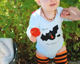 "Halloween Baby ""Batty for DADDY"" bodysuit, perfect for 1st Halloween photo prop, Halloween onesie"