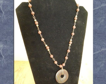 Pendant Necklace Tiger Iron Donut Gold Filled Wire Wrapped Purple Aventurine Beads Statement Stramd  (M-159)