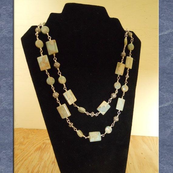 Jasper Bead Necklace Sterling Silver Bali Silver Beads Blue Tan Impression Jasper Strand Statement Wire Wrapped  (M-141)
