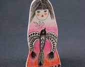 Bird Drawing Pin, Girl Figurine, Air Dry Clay Brooches, Handmade Shop, Pencil Drawings, Whimsical Art, Folk Inspired, Jewelry, Schmuck