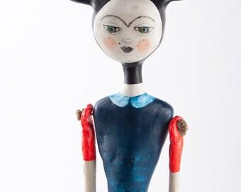 Hanging Art Doll, Handmade Ornament, Air Dry Clay, Ceramic Sculpture, Rabbit Ears, Original Art Object, Wall Decor, Mixed Media, Keramik