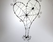 Custom Order Pair of Wonky Barbed Wire Heart Spider Webs