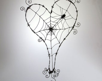 Wonky Barbed Wire Heart With Spider Web And Spider Made To Order