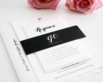 Black and White Wedding Invitation Suite - Chic, Modern, Whimsical Wedding Invitation, Wedding Invites - Whimsy and Script Design - Sample