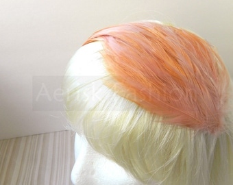 Rose Champagne  feather fascinator blank Base (5 fastner option) Derby feather cap,fascinator for mardi gras, kentucky derby, or tea party