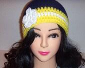 Crochet Beanie Hat, Blue and Yellow Hat, Womans Accessories, Winter Hat, Crochet Women's Hat