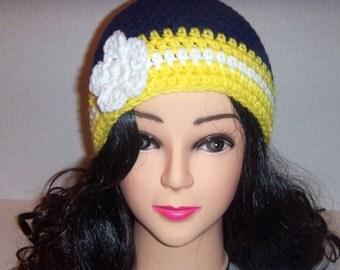 Crochet Beanie Hat, Blue and Yellow Hat, Crochet Women's Hat