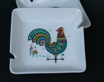Berggren Rooster Weather Vane Porcelain Ashtray Set of 2
