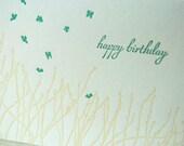 SALE - Happy Birthday Letterpress card - Wheatgrass