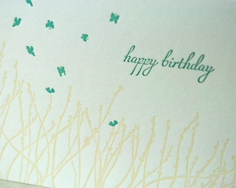 SALE - Happy Birthday Letterpress card - Wheatgrass