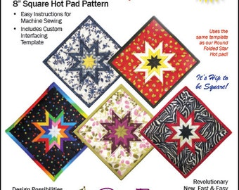"""SQUARE Folded Star Squared 8"""" Hot Pad PATTERN"""