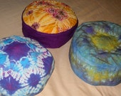 Custom Cotton or Rayon Judaic Art Tie Dyed Bukharan-Style Kippah, Geometric, Multicolored, Patterned Stripes