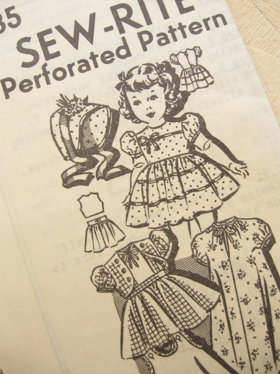 Sew-Rite 8035: 1940s Vintage Doll Clothing Patterns 22 Inch