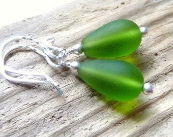 Olive Green Sea Glass Teardrop Earrings, Seaglass Earrings, Sterling Silver Earrings, Fall Jewelry, Beach Jewelry