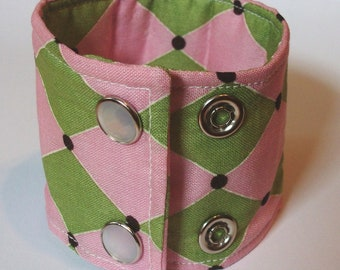 Wide Cuff Bracelet Statement Accessory Pink and Lime Harlequin