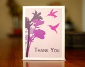 Plum Hummingbirds with Wild Flowers - Set of 10 Thank You Cards on 100% Recycled Paper