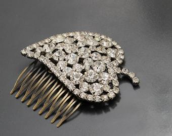 Rhinestone Ice Leaf. Vinatge pin Upcycled into Bridal Hair Comb.