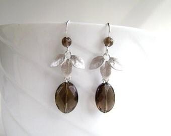 Smoky Quartz Earrings, Silver Leaf, Fall Fashion, Autumn Jewelry, Rhodium Plated Silver Leaf Drops, 405