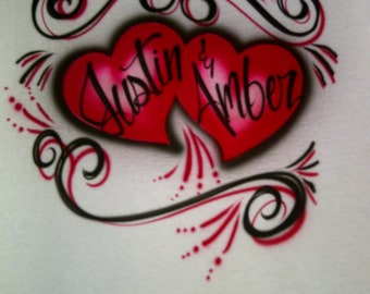 Airbrush Red & Black Hearts Personalized w/ Names T-Shirt size S M L XL 2X Airbrushed T Shirt