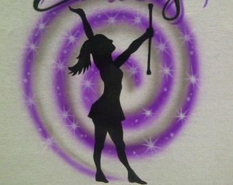 Airbrush Majorette T-Shirt Personalized With Your Name Baton Airbrushed Shirt