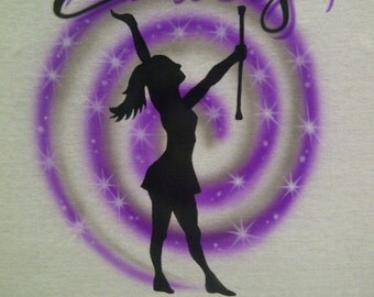 Airbrushed Majorette TShirt Personalized With Your Name Youth sz XS S M L Adult S M L XL Baton Shirt