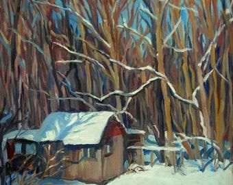 Little Shed, Big Snow. Large Oil Painting Landscape, 24x18 Original Oil on Canvas, Winter Plein Air Impressionist Fine Art, Signed Original