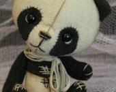 Miniature Quality Handcrafted Woven Wool Artist Panda Teddy Bear Lollie