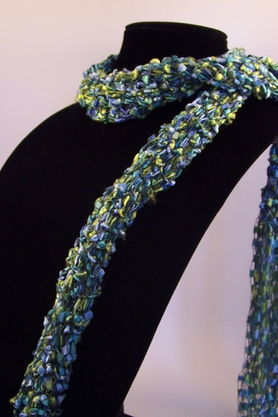 Knitting Pattern For Ladder Yarn Scarf : Ladder Ribbon Yarn Scarf Knit Skinny Scarf Long by WeeCatCreations