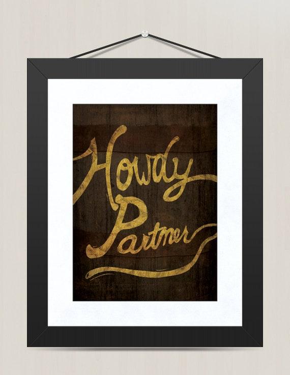 Western nursery ideas : Cowboy western nursery print, howdy partner wall decor, 8 x 10
