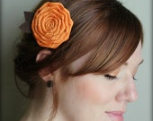 Pumpkin Hair Clip, Folded Rose for Adults and Girls