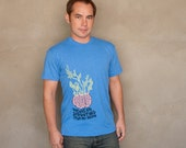 Sprouting Brain - hand printed silk screened Men's unisex american apparel graphic t-shirt
