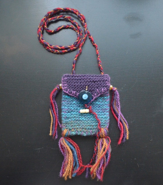 evil eye medicine bag hand knit bag perfect for by anathemum