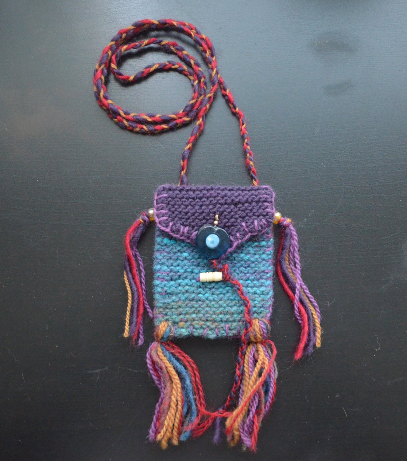 Evil Eye Medicine Bag hand knit bag perfect for by Anathemum
