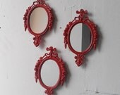 Wall Mirror Set of Three in Matching Vintage Frames - Lipstick Red
