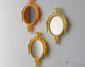 Framed Mirror Set in Three Shades of Yellow, Bohemian Wall Decor, Beach House, Yellow Nursery, Home Accents, Wall Hangings